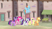 Mane Six continue through the village S5E1