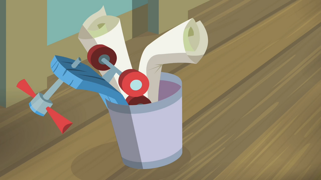 File:The posters and Scootaloo's scooter thrown into the trash can S4E05.png
