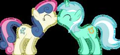 Bon Bon and Lyra nuzzle