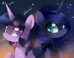 Twilight Sparkle and Princess Luna by artist-crenair