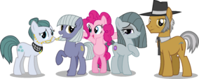Pinkie Pie between her sisters and parents
