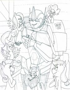 Sketch of Optimus Prime and the Mane six