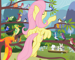 156981 - angle artist-FacelessJr background birds commission Fluttershy orchestra Peewee Philomena phoenix
