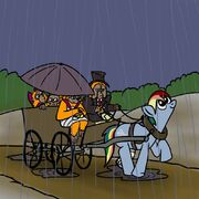 Rainbow Dash pulling a carriage