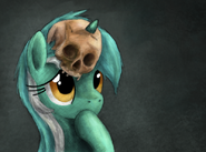 Lyra and skull wallpaper by artist-hewison