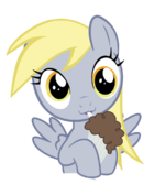 Derpy Hooves drinking her chocolate milkshake