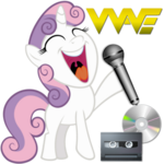 Sweetie Belle with a microphone