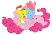 Pinkie pie babysitting the cakes by beavernator-d4rs4dk