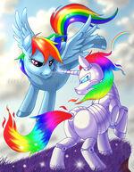 Rainbow Dash flying next to Metal Rainbow Dash