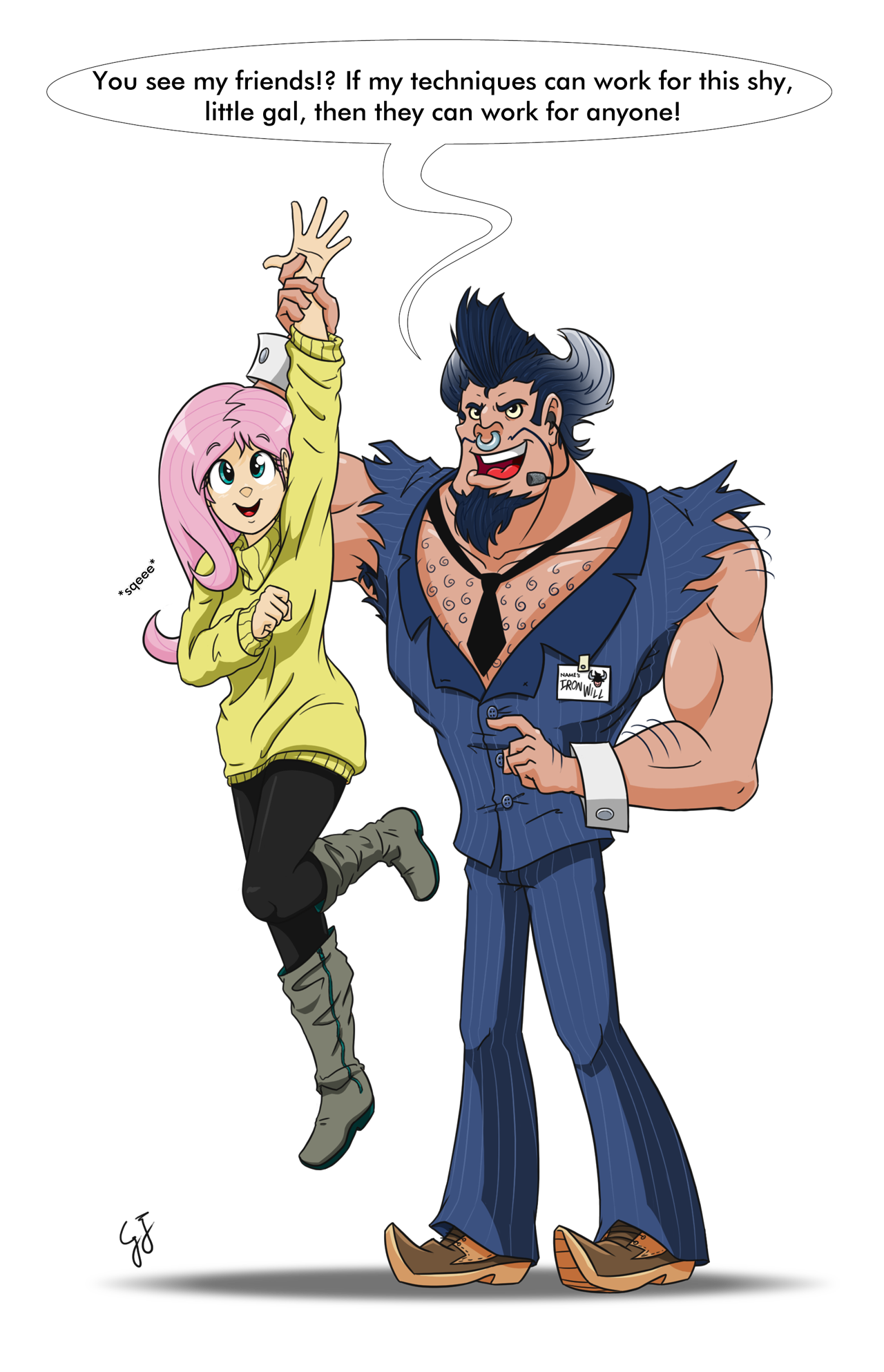 Image - Fluttershy and Iron Will by GlancoJusticar.png