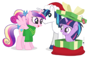 Young Princess Cadence, young Shining Armor and filly Twilight in Christmas day by artist-dm29