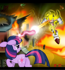 Twilight Sparkle and Super Sonic - Thru the Flames by Snicketbar
