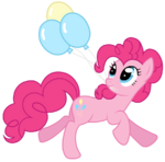 Pinkie Pie grasping 3 balloons with her mouth