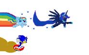 Rainbow Dash, Luna, and Sonic race