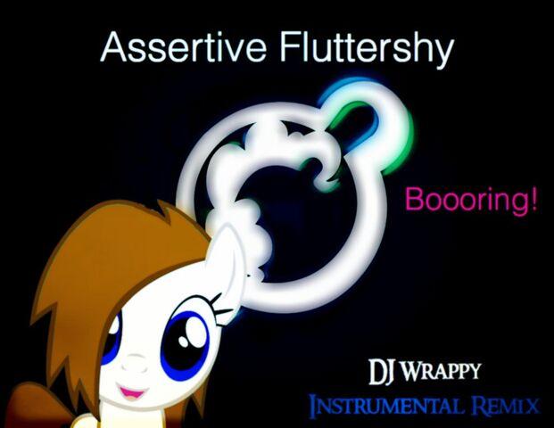 File:Assertive Fluttershy and Dj Wrappy - Boooring! Wallpaper.jpg