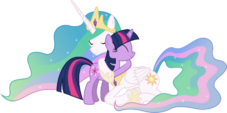 Princess Celestia hugging Twilight Sparkle by artist-90sigma