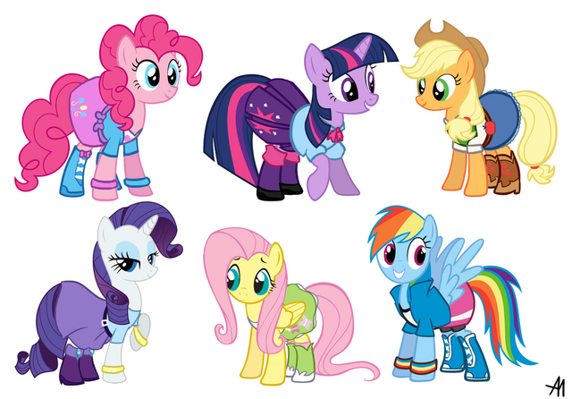 File:My Little Pony Equestria Girls in human outfits.png