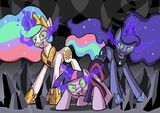 Twilight Sparkle, Princess Celestia and Princess Luna dark magic corruption