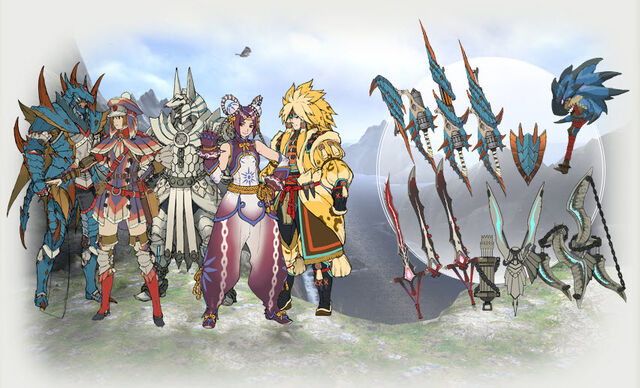 File:MH Tri G armors and weapons.jpg