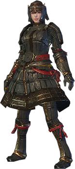 File:MHO-Lone Shen Gaoren Armor (Blademaster) (Female) Render 001.png