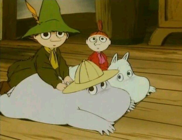 File:Snufkin, Moominpappa, Little My and Moomintroll.jpg