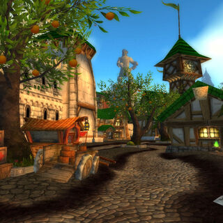 A street in Boralus, with a statue of the late Lord Admiral <a href=