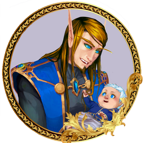 A portrait commissioned by Aeriyth Dawnsorrow of Tarso holding her daughter, Quorra Dawnsorrow, at Quel'Belore.