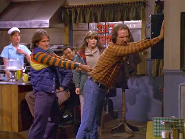 File:Mork's Greatest Hit Robin Williams Pam Dawber Brion James.jpg