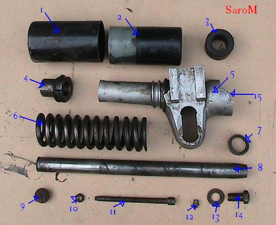 Datei:Sarolea 49 ASL 1949 350cc Hinterradfederung zerlegt.JPG