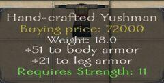 Hand-crafted Yushman Armor