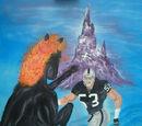 Картина с лошадью, атакующей футболиста