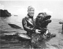 Haruo with Godzilla costume