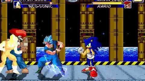 Hyper Goku and Sonic vs Rario and Majin Vegeta