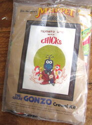 Caron 1980 crewel kit gonzo numero uno with chicks 1