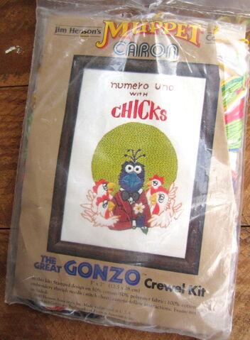 File:Caron 1980 crewel kit gonzo numero uno with chicks 1.jpg