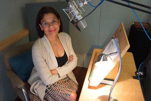 File:Sonia Manzano records memoir narration.jpg