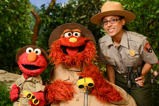 File:Elmo, Murray and Park Ranger Shalini Gopie from Gateway National Recreation Area- Hyman..jpg