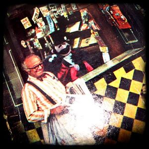 Vintage sesame street record album cover with mr hooper copy