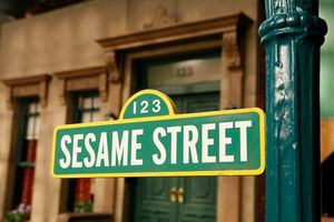 Sesame street set sign