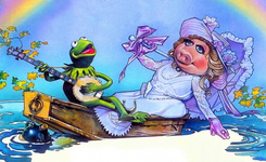 Kermit and piggy in a boat - struzan