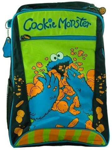 File:Cookie monster eating cookies backpack.jpg