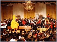 Big Bird at children's diplomatic reception in the East Room 1978