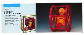 Illco 1992 baby toys big bird roll back wheel