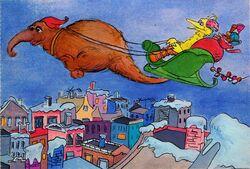Big bird as santa claus