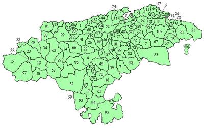 Mapa molecipasl e Cantabria