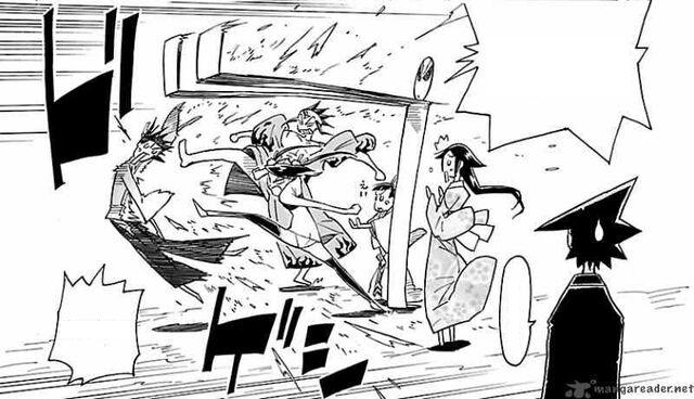 File:Jinbei being beaten by Hibachi, Shungiku, and Tenma.jpg