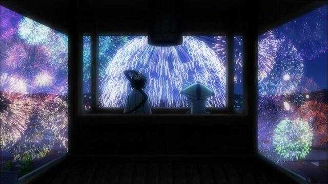 File:Jinbei and Kuroageha watching the firework.jpg