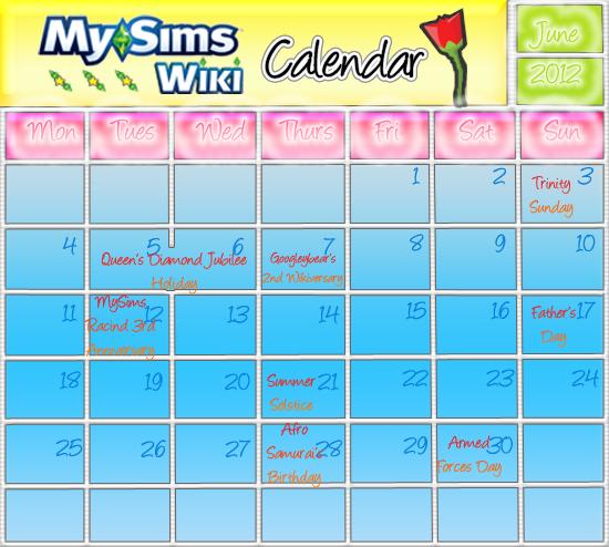 June Calendar2012