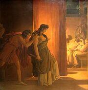 220px-Gérin Clytemnestre hésitant avant de frapper Agamemnon endormi Louvre 5185
