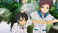 Hikari and Tsumugu in the water
